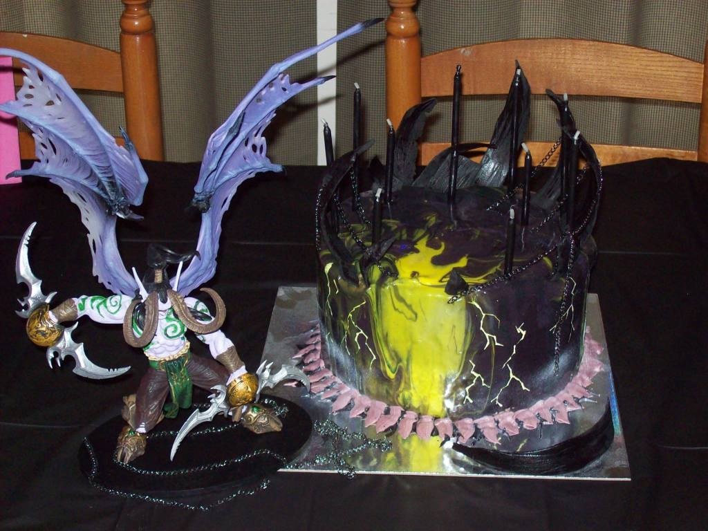 World of Warcraft Mirror Glaze Cake with Hand Painted Lightening, Black Fondant Piecework and Metal Chain Accents