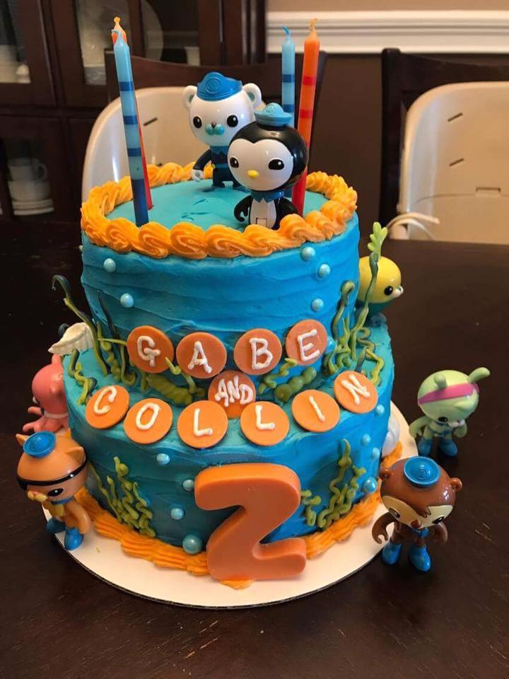 Octonauts Birthday Cake with Buttercream Finish, Hand Poured Candy Melt and Candy Pearl Accents