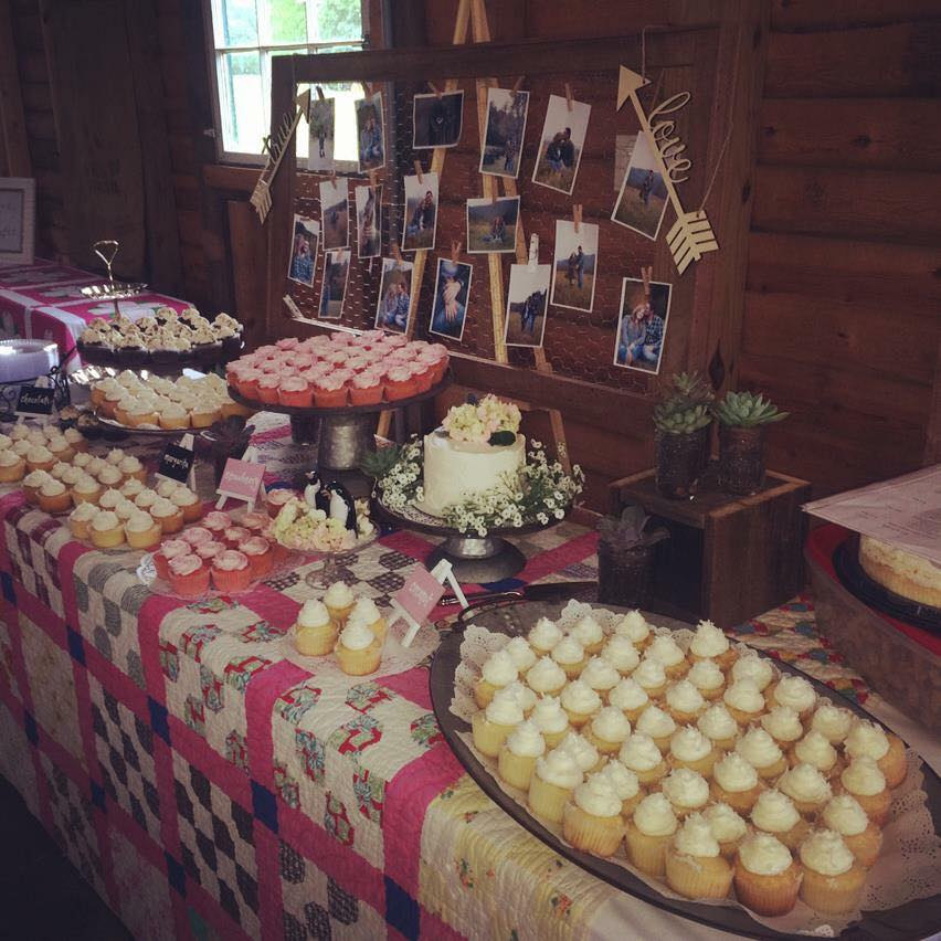 The Barn at Deep Well Farms Wedding Cupcakes in Strawberry, Coconut, Margarita and Chocolate Fudge