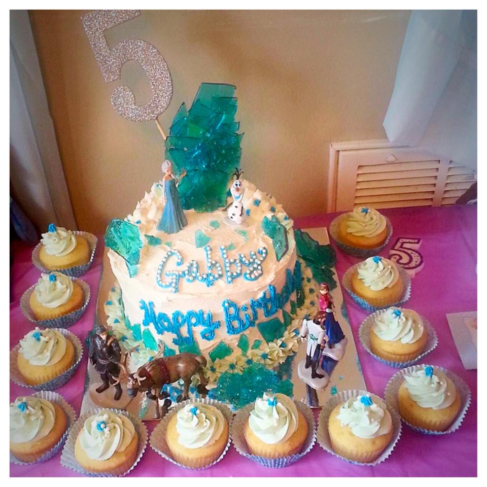 Disney Frozen Themed Birthday Cake with Cupcakes, Blue Rock Candy, White Candy Pearls, Buttercream Finish