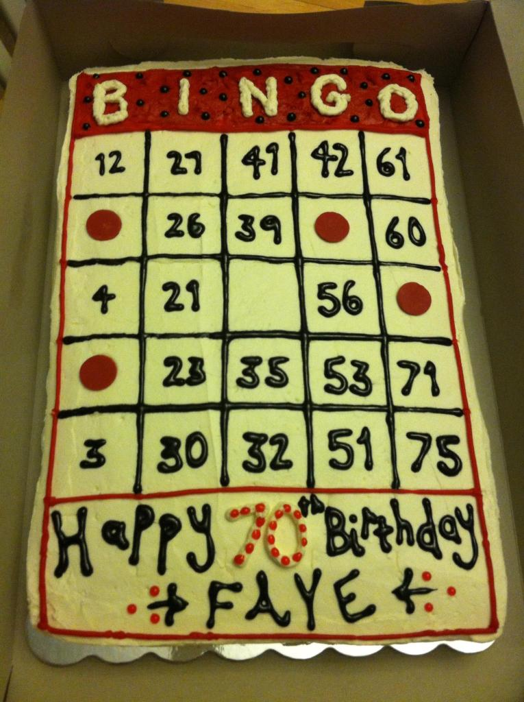 Bingo Card Themed Birthday Sheet Cake