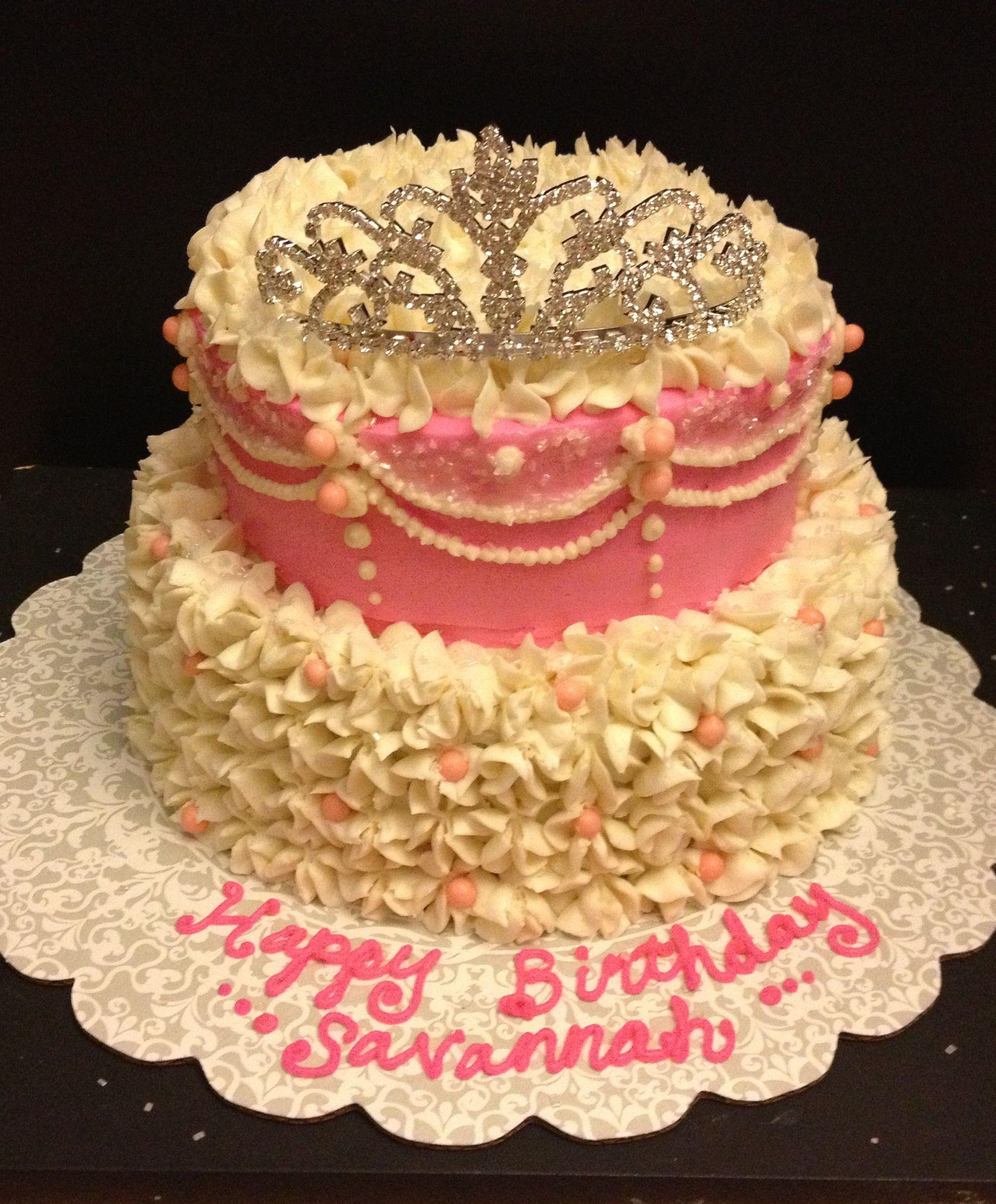 Princess Tiara Themed Birthday Cake