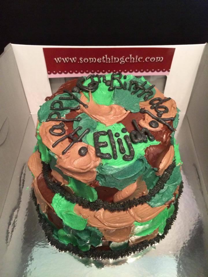 Camouflage Smear Birthday Cake
