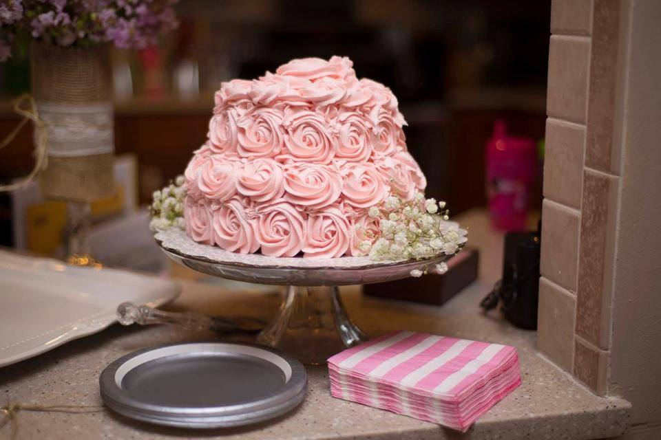 pink rose bridal shower cake