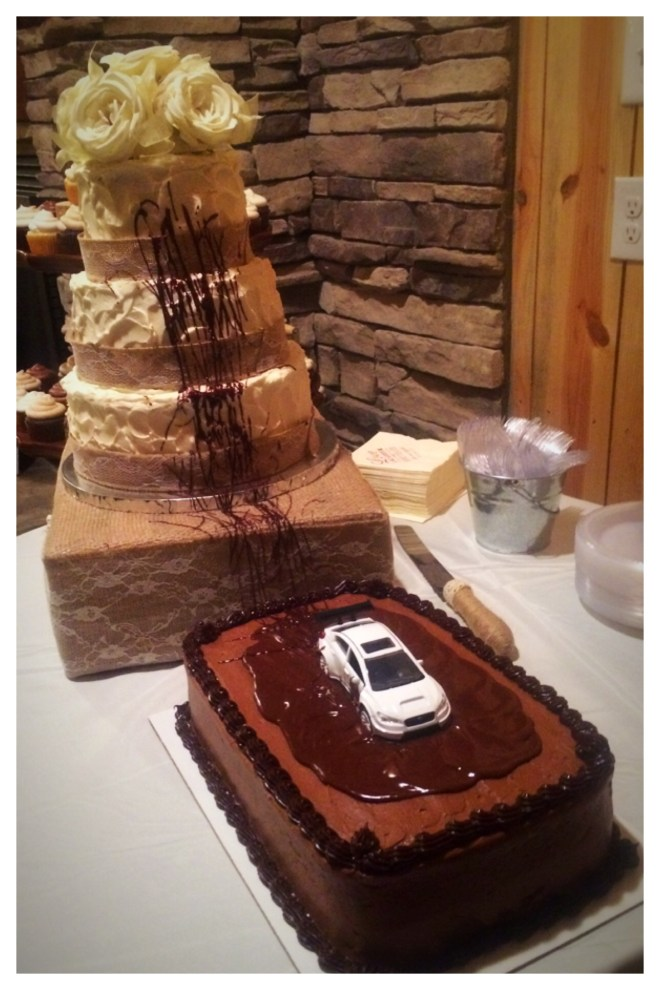 rustic wedding cake with swirl textured buttercream finish, silk flower topper, burlap and lace ribbon, chocolate groom's cake with car peel out with chocolate drizzle, Fast and the Furious