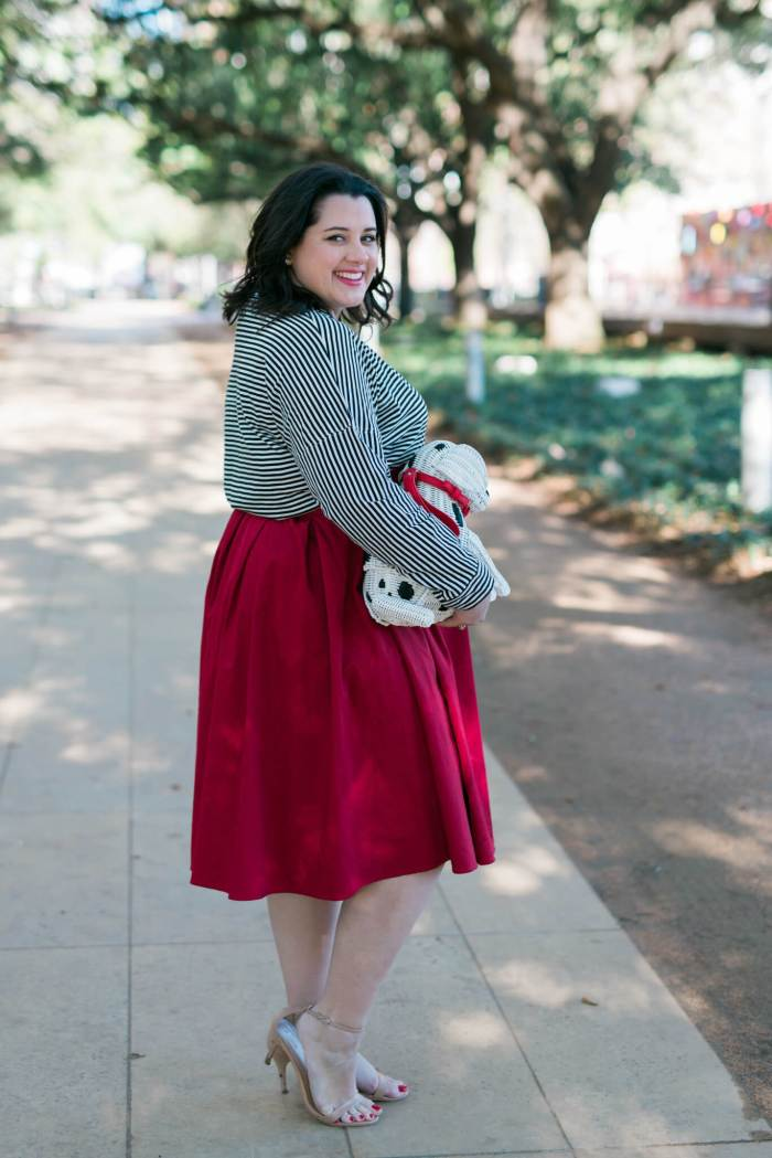 Puppy Love - Something Gold, Something Blue fashion blog - Want to elevate a stripped top and red skirt, add a statement bag