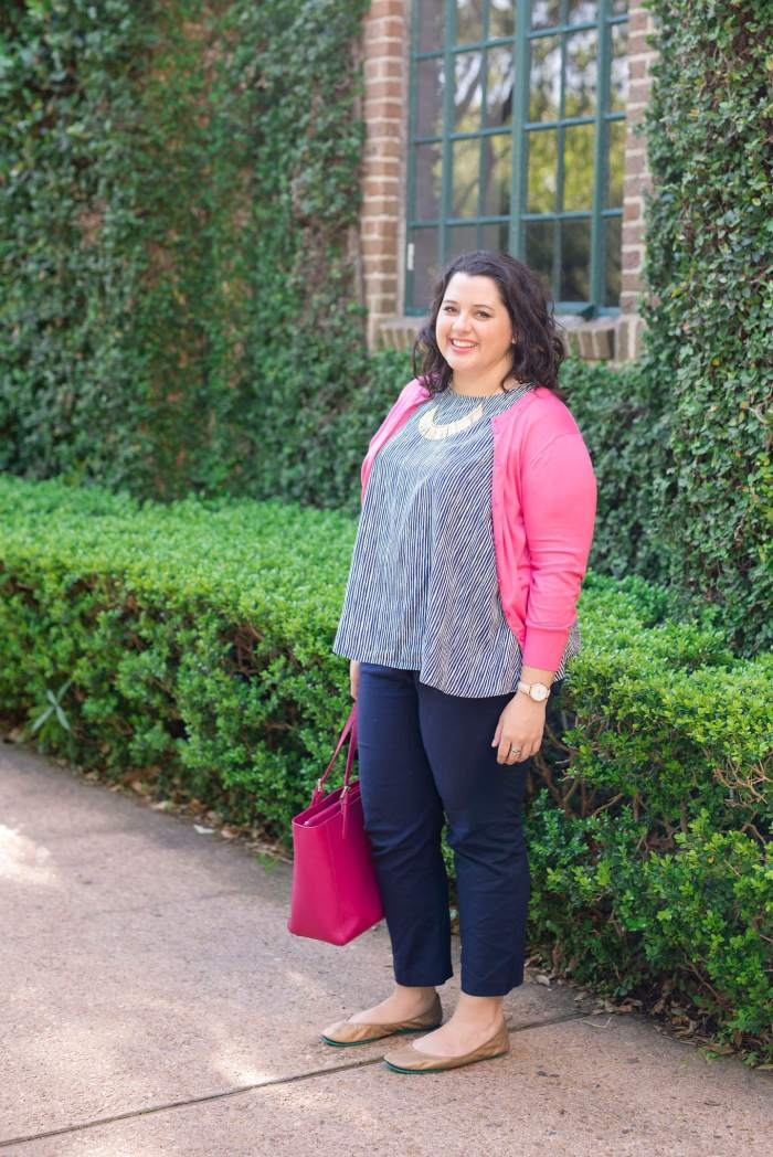Spring Business Casual - Something Gold, Something Blue fashion blog - Colorful business casual is my favorite go to, Old Navy Top, Tieks Ballet Flats, J Crew Cardigan, Eloquii Pants, Tory Burch Tote