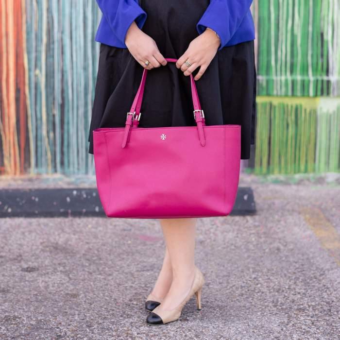 Business Casual with eShakti - Something Gold, Something Blue style blog - I'm sharing how I styled my black eShakti black cutout dress