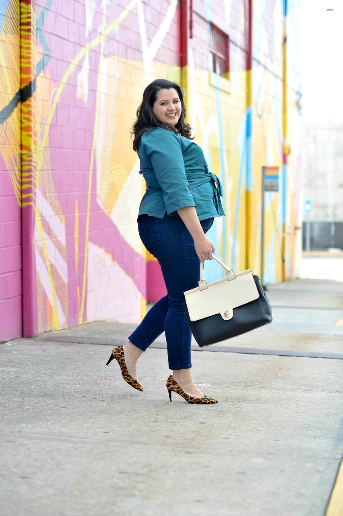 How to wear jeans to work - My company recently went to a flexible dress policy where we can wear jeans to the office. I am challenging myself to style different work outfits that are both appropriate for business casual office and ready for happy hour.