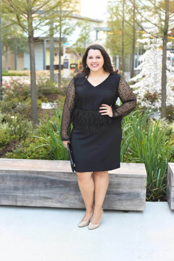 Emily from Something Gold, Something Blue is sharing her formal holiday party outfit including fabulous nude pumps, a gorgeous black lace and feather peplum dress and red crystal statement earrings. - @emilySGSB