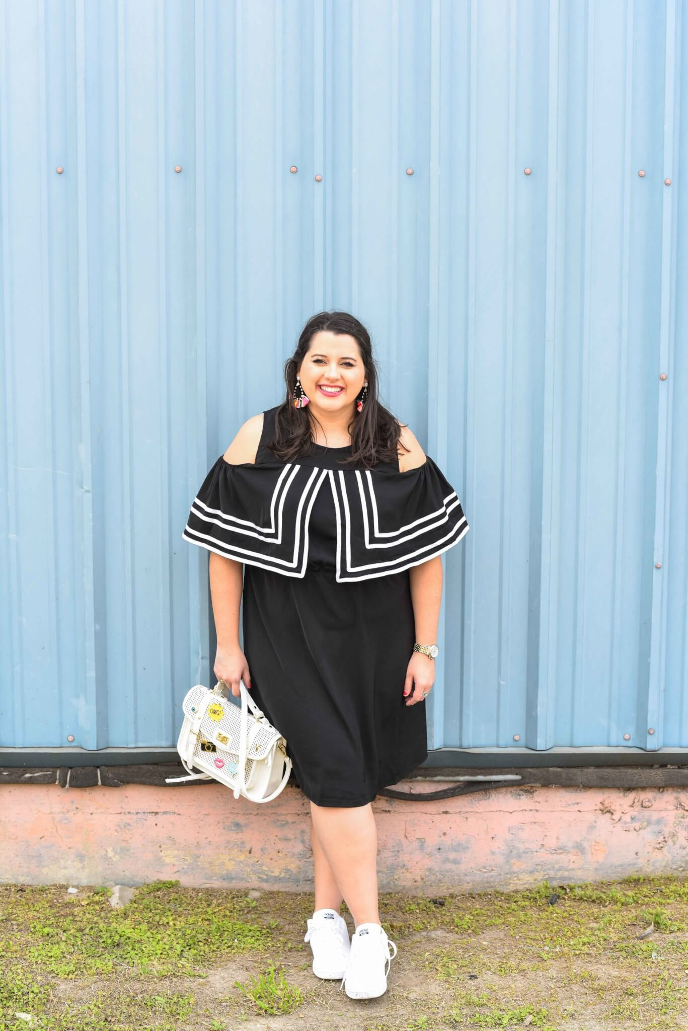 The Internet can be a powerful tool and today the song, You Will Be Found, from the Broadway musical, Dear Evan Hansen, inspired me to write about some of my insecurities while sharing my spring style. Curvy style, plus size fashion, cold shoulder dress, how to style sneakers, statement earrings