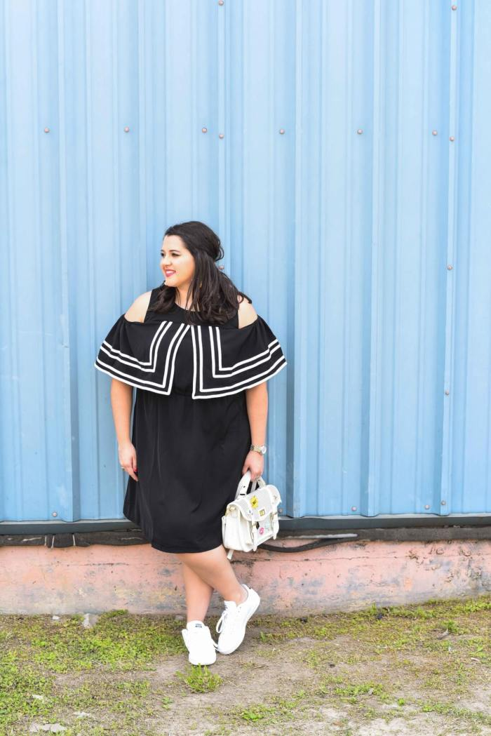 The Internet can be a powerful tool and today the song, You Will Be Found, from the Broadway musical, Dear Evan Hansen, inspired me to talk about my love-hate relaitionship with the Internet while sharing my spring style. Curvy style, plus size fashion, cold shoulder dress, how to style sneakers, statement earrings
