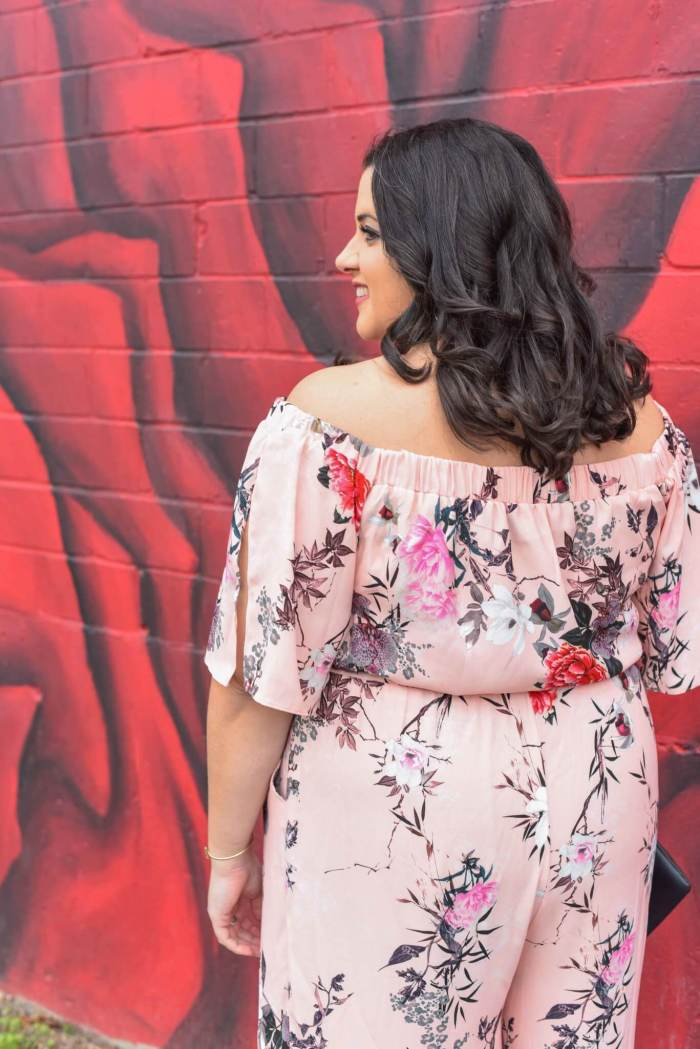 Spring style, how to wear a jumpsuit, how to rock an off the shoulder jumpsuit, off the shoulder, jumpsuit, body positivity, body confidence, confidence, change, love yourself, body positive, confident woman