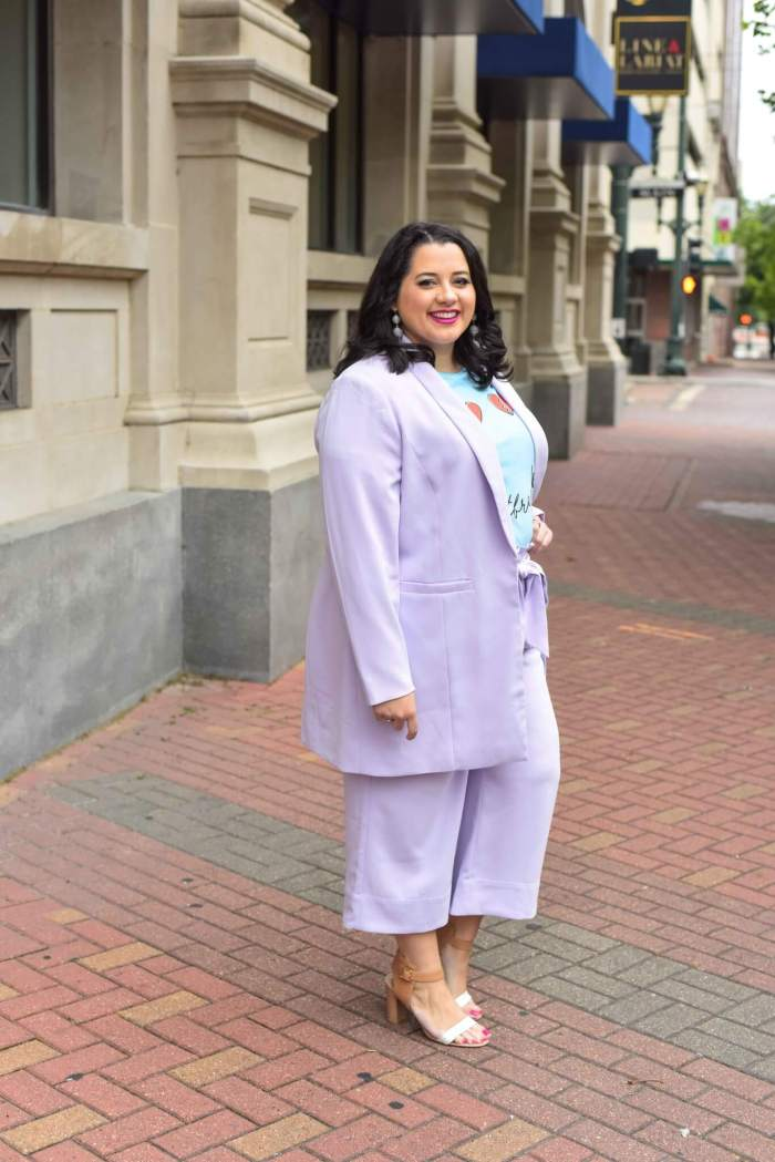 Lavender suit styled by popular Houston curvy fashion blogger, Something Gold, Something Blue