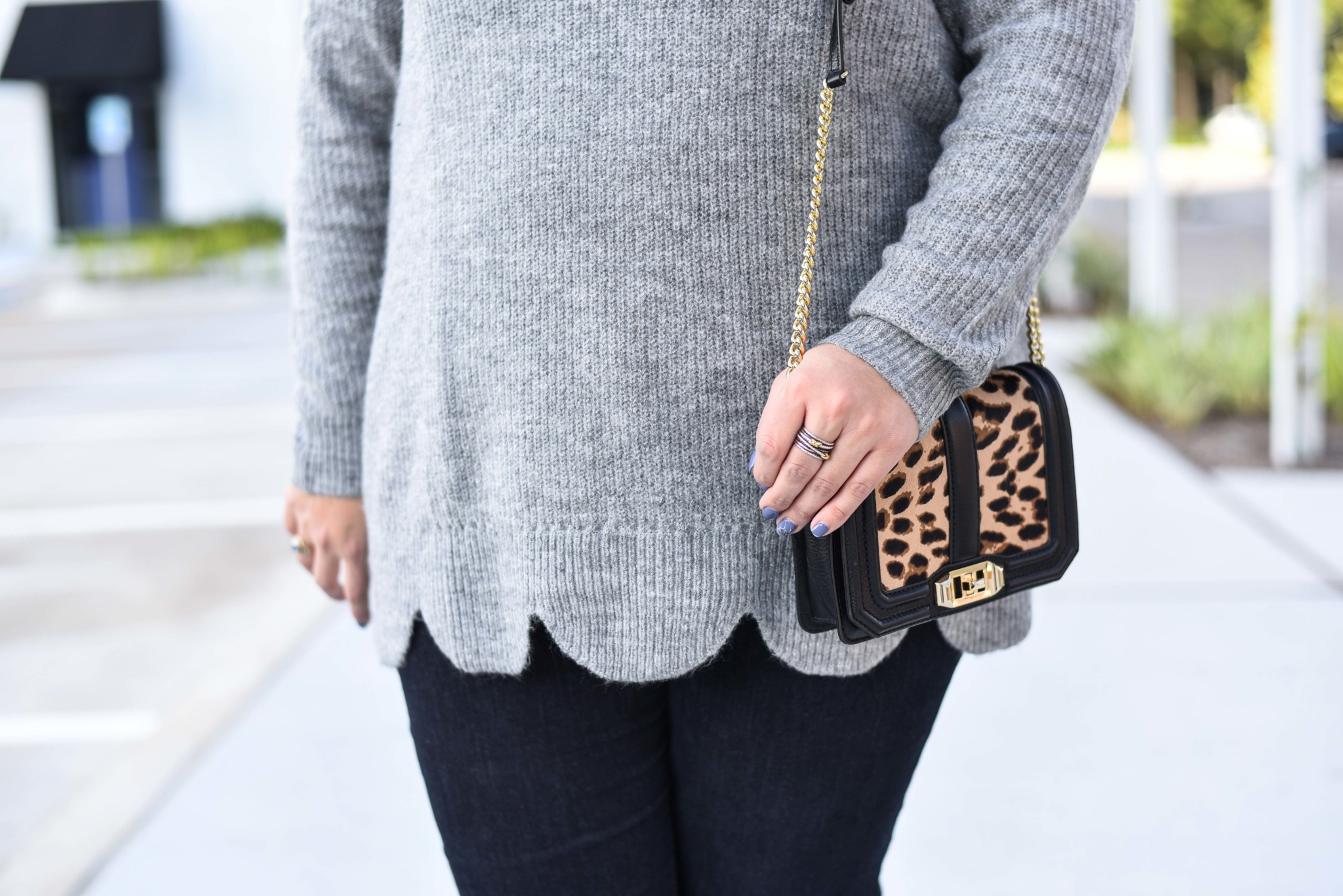 Gorgeous scallop detail on this grey sweater from Lane Bryant