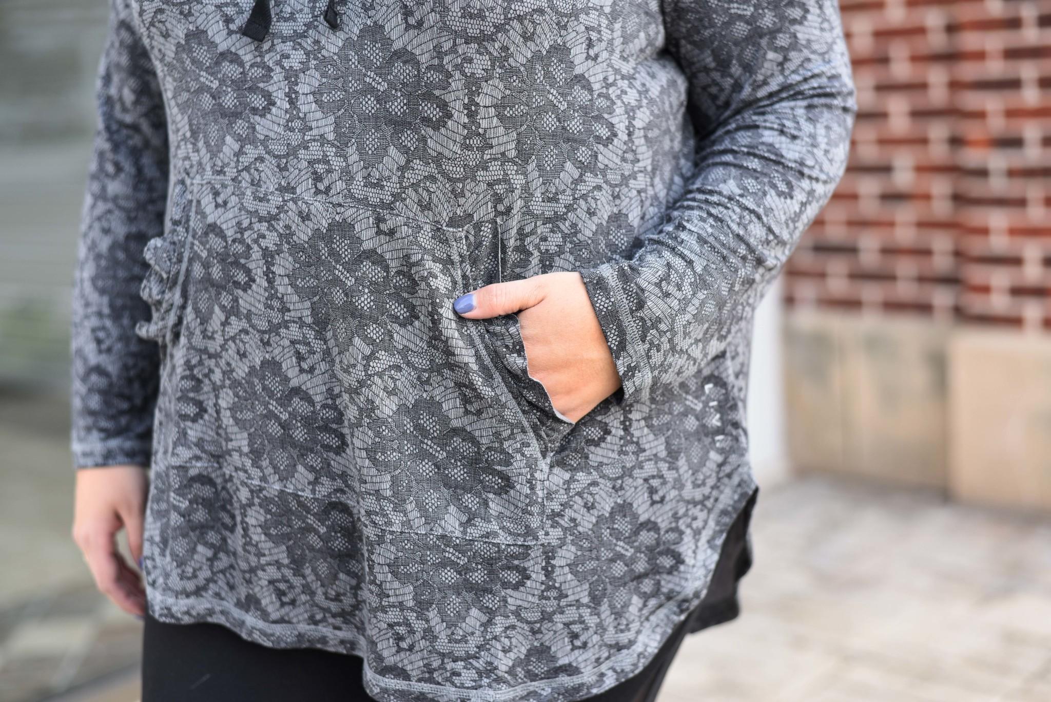 Ruffle detail on pocket of LIVI Activewear hoodie on sale during Lane Bryant Cyber Week Sale