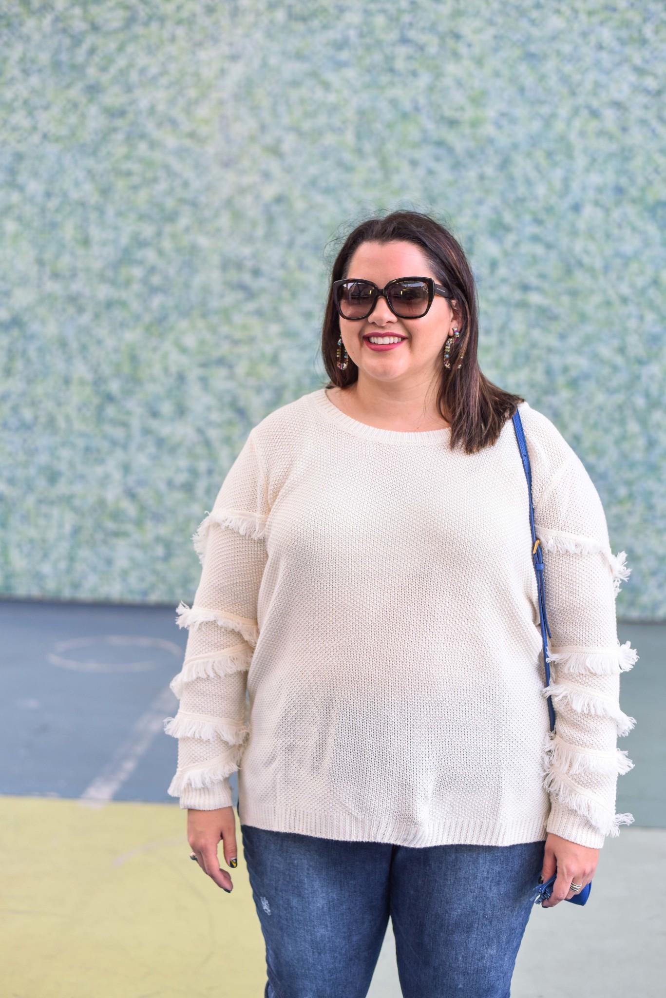 Curvy Contemporary Fringe Sleeve Sweater