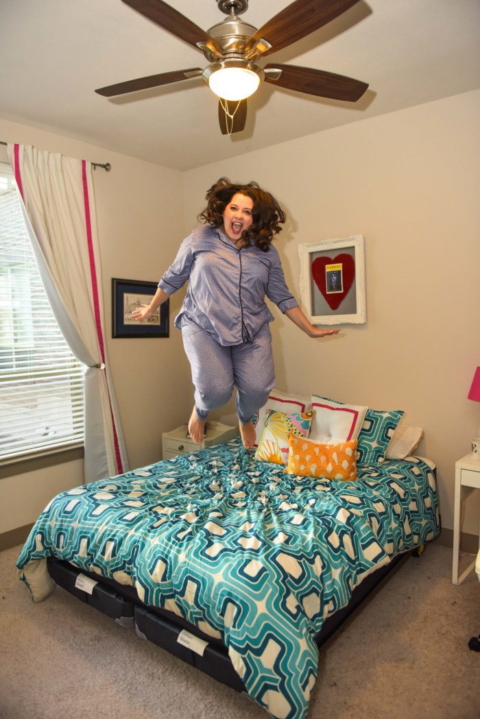 Jumping for joy because I got a great night's sleep on my Big Fig Mattress.