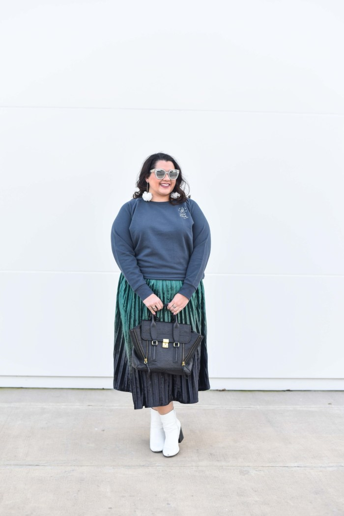 Ready for the night on the town in my new Ori plus size embroidered sweatshirt and velvet skirt by ModCloth.