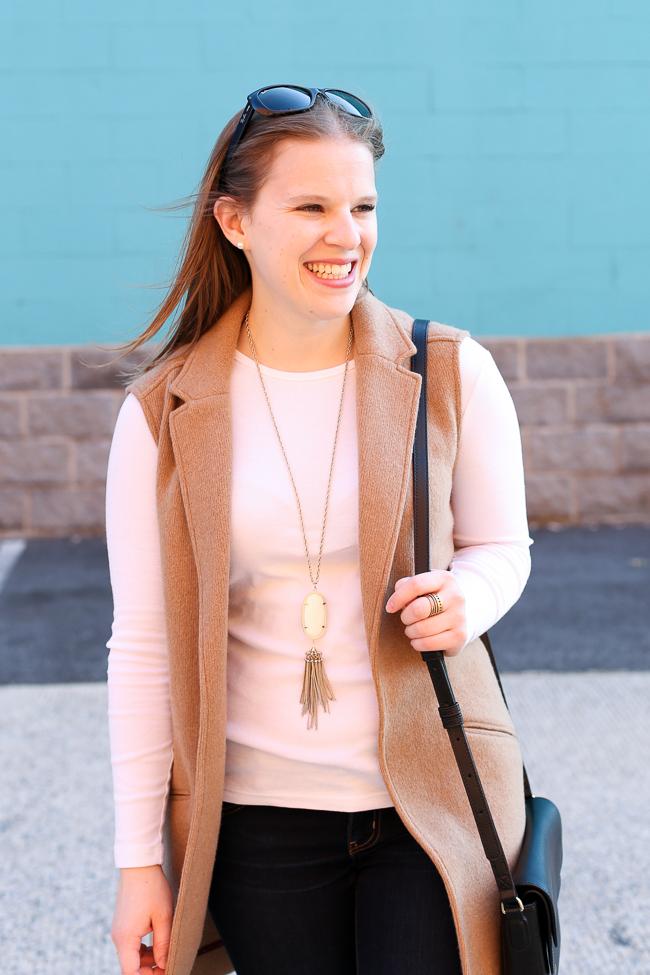 The Camel Blazer Vest | Something Good, kendra scott, rayne necklace