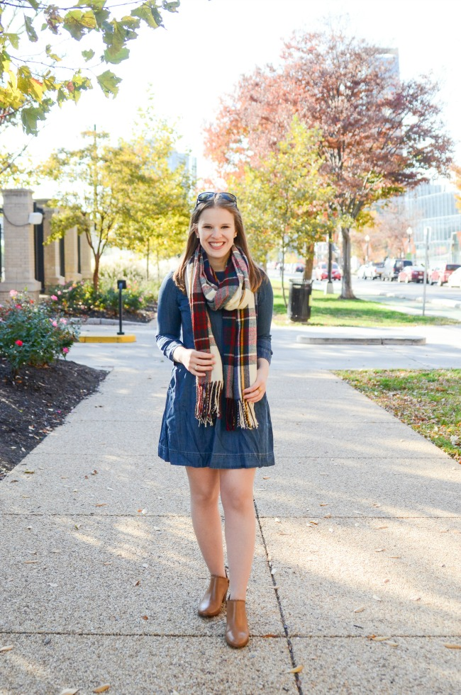 The Denim Dress (Part 2) | Something Good, denim a-line dress, abercrombie and ftich, chambray dress, fall fashion, thanksgiving outfit, holiday outfit, fashion, style, women's fashion, cognac ankle boots, clothes, dress, plaid scarf