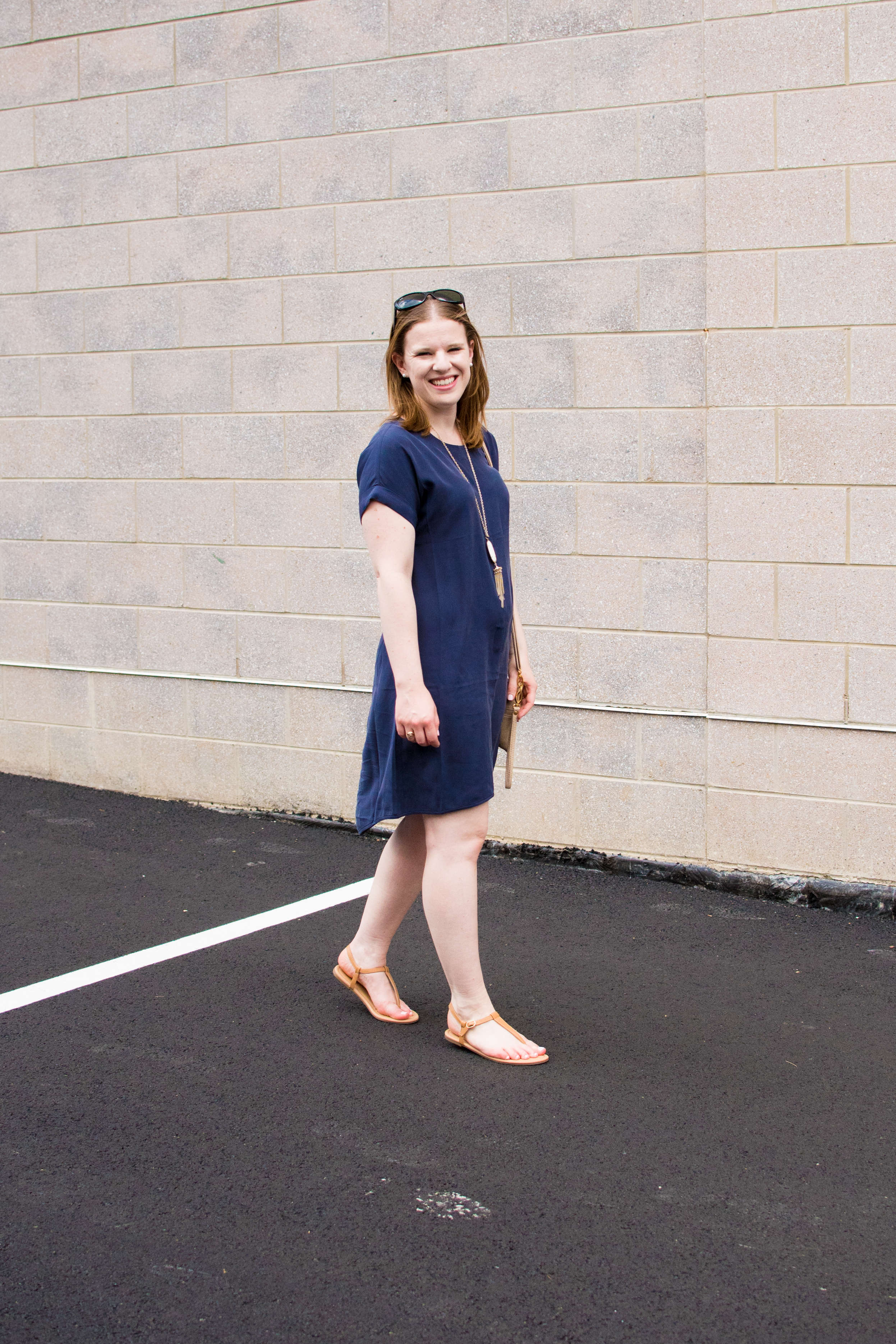 The Navy Shift Dress | Something Good, @danaerinw, women, fashion, clothing, style, summer style, clothes, women's clothing, summer fashion, everlane, tstrap sandals, nude sandals, dress