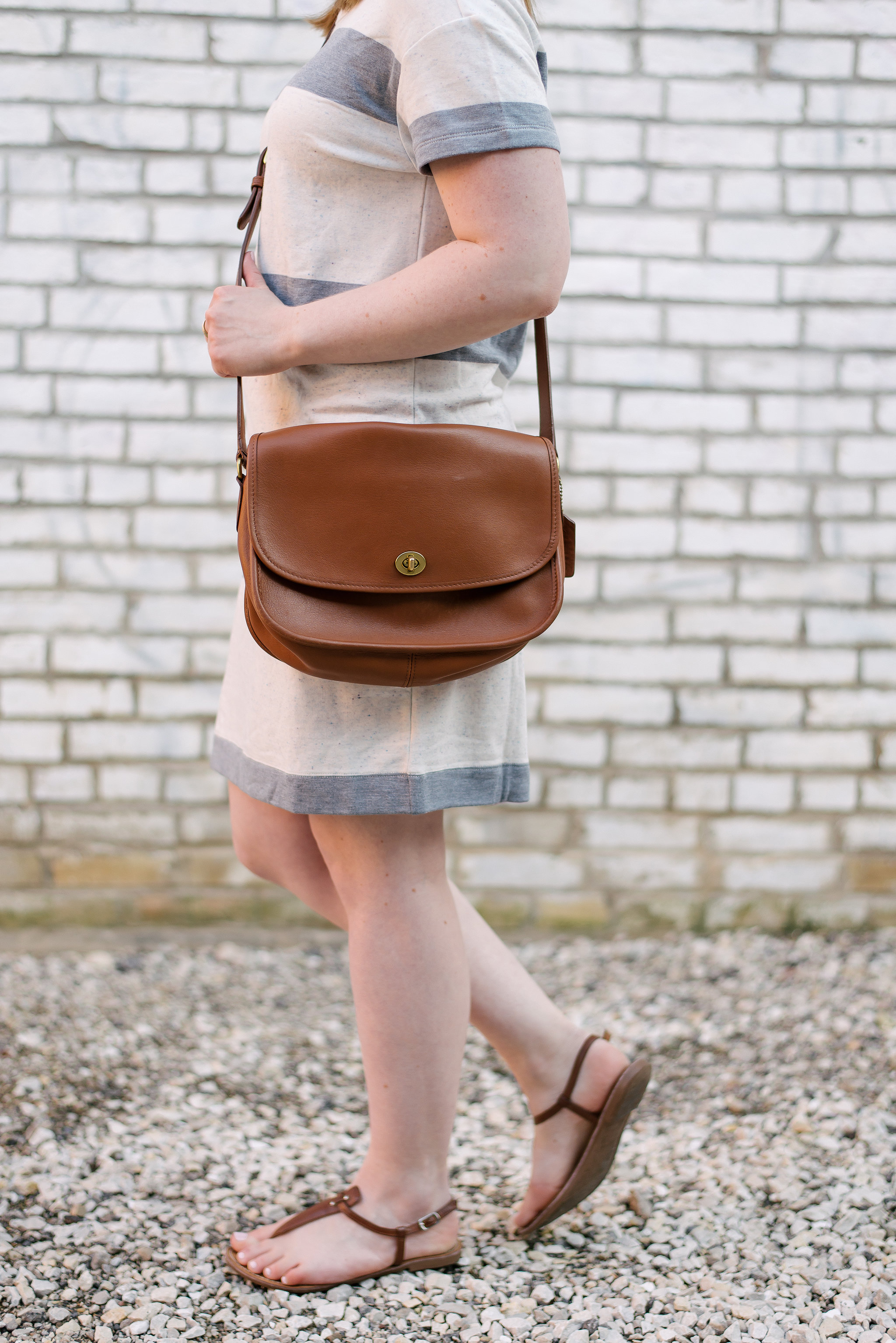 The Striped Tee Dress | Something Good, @danaerinw , crossbody bag, cognac bag