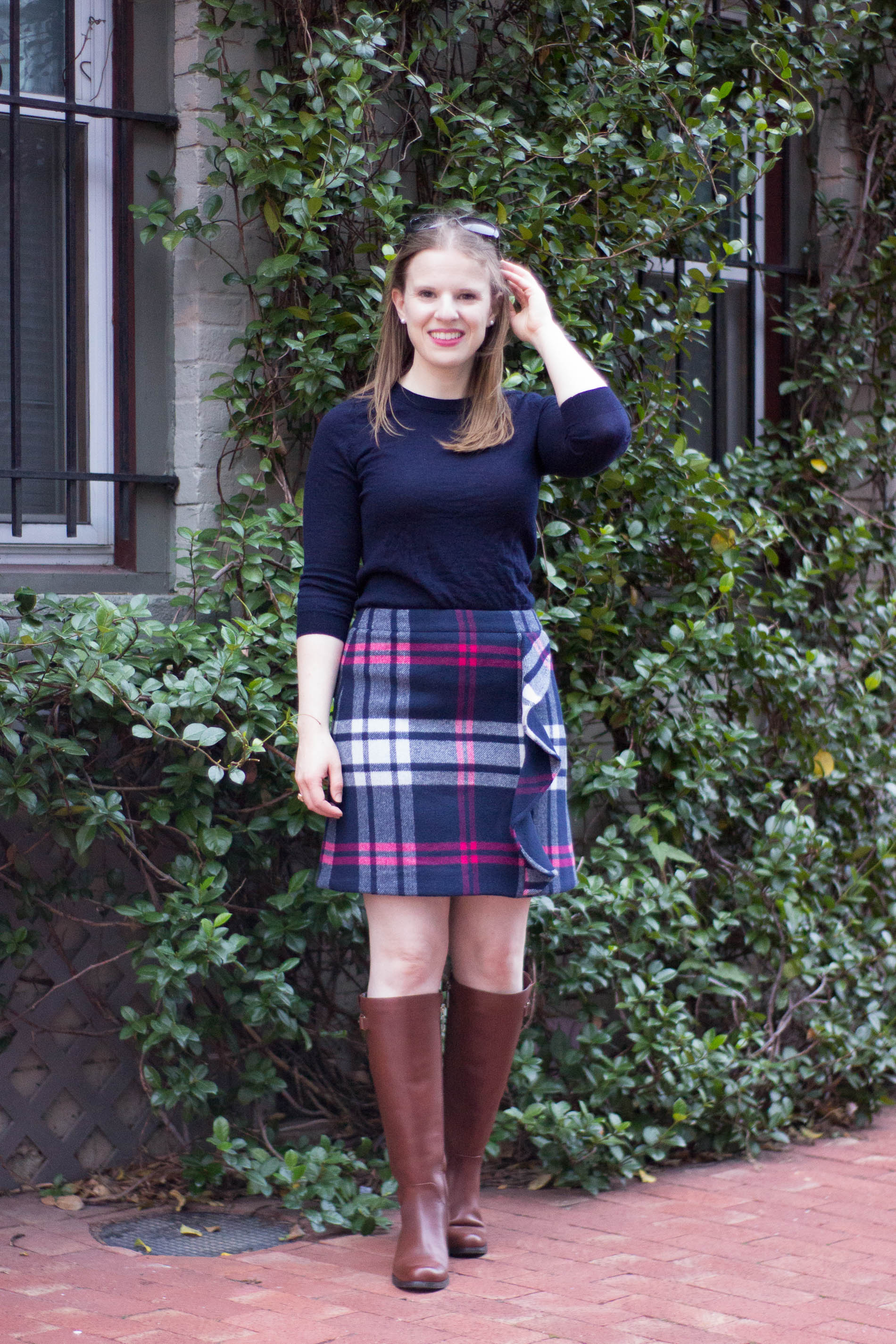 The 5 Days to Holiday Savings Challenge | Something Good, @danaerinw , fall outfit, fall style, women's fashion, women's clothing, women's style, fall clothes, navy sweater, crew neck sweater, riding boots, thanksgiving, thanksgiving outfit, workoutfit, plaid skirt outfit, skirts, women's skirt, brown boots