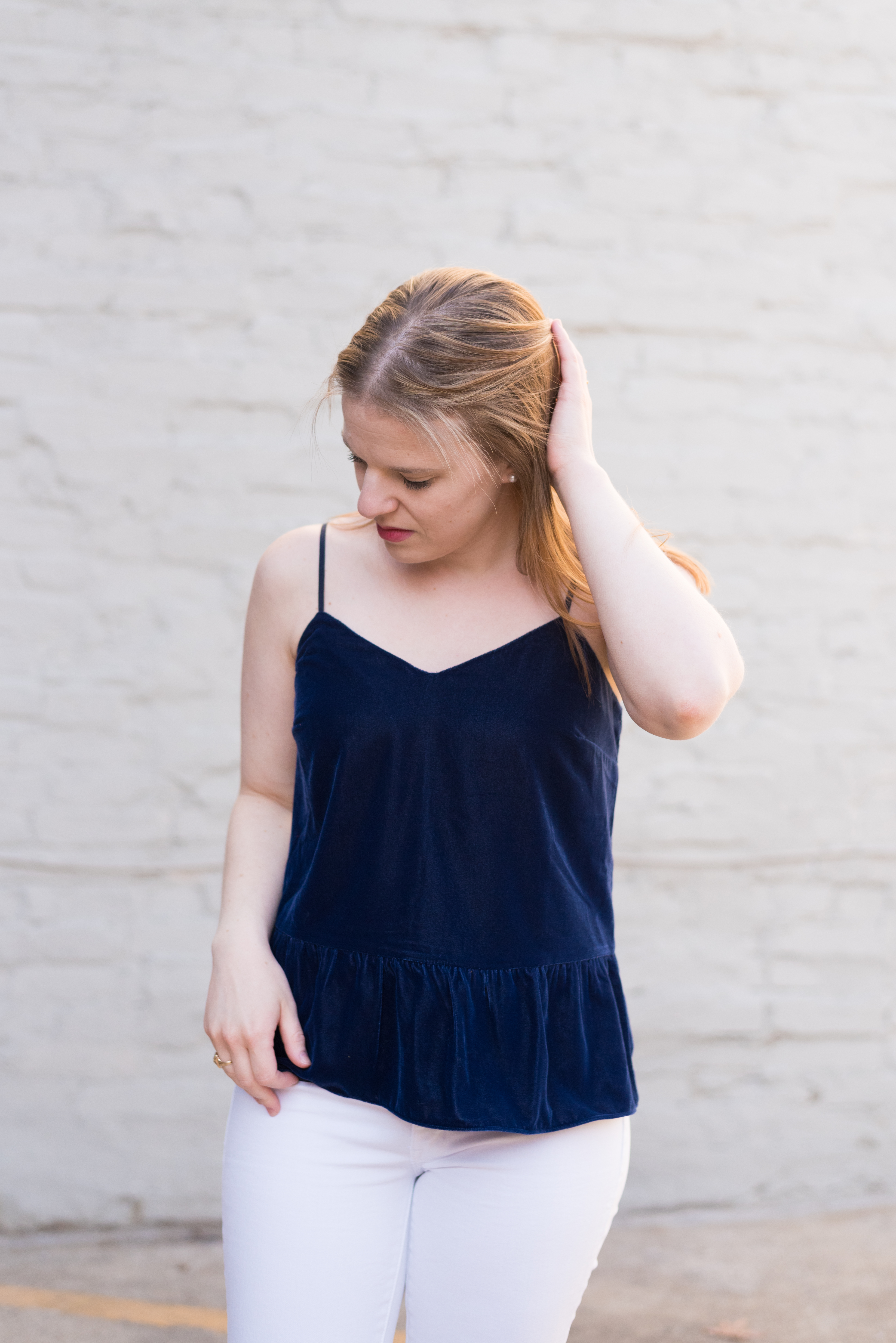 How to Make New Years Eve Plans at the Last Minute (and on a budget!) | Something Good, @danaerinw , navy peplum cami, white denim