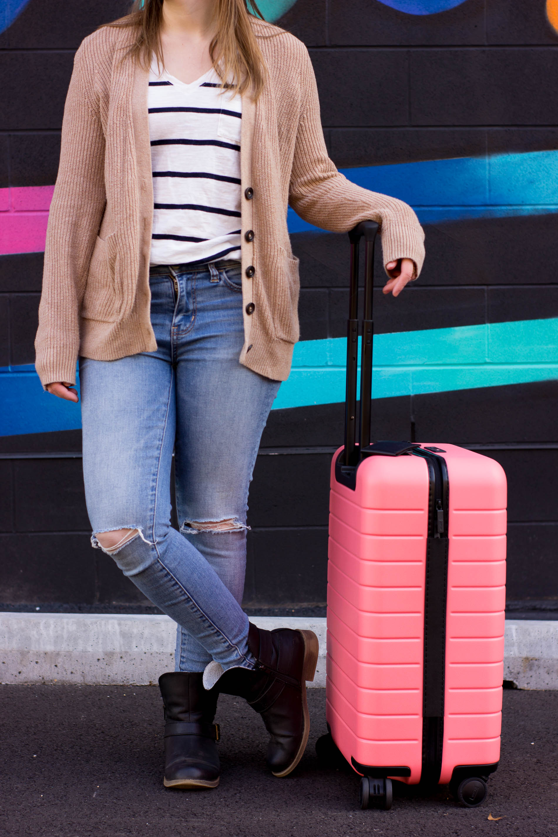 The Perfect Travel Outfit | Something Good, @danaerinw , coral away suitcase, moto boots, bigger carry on, away suitcases