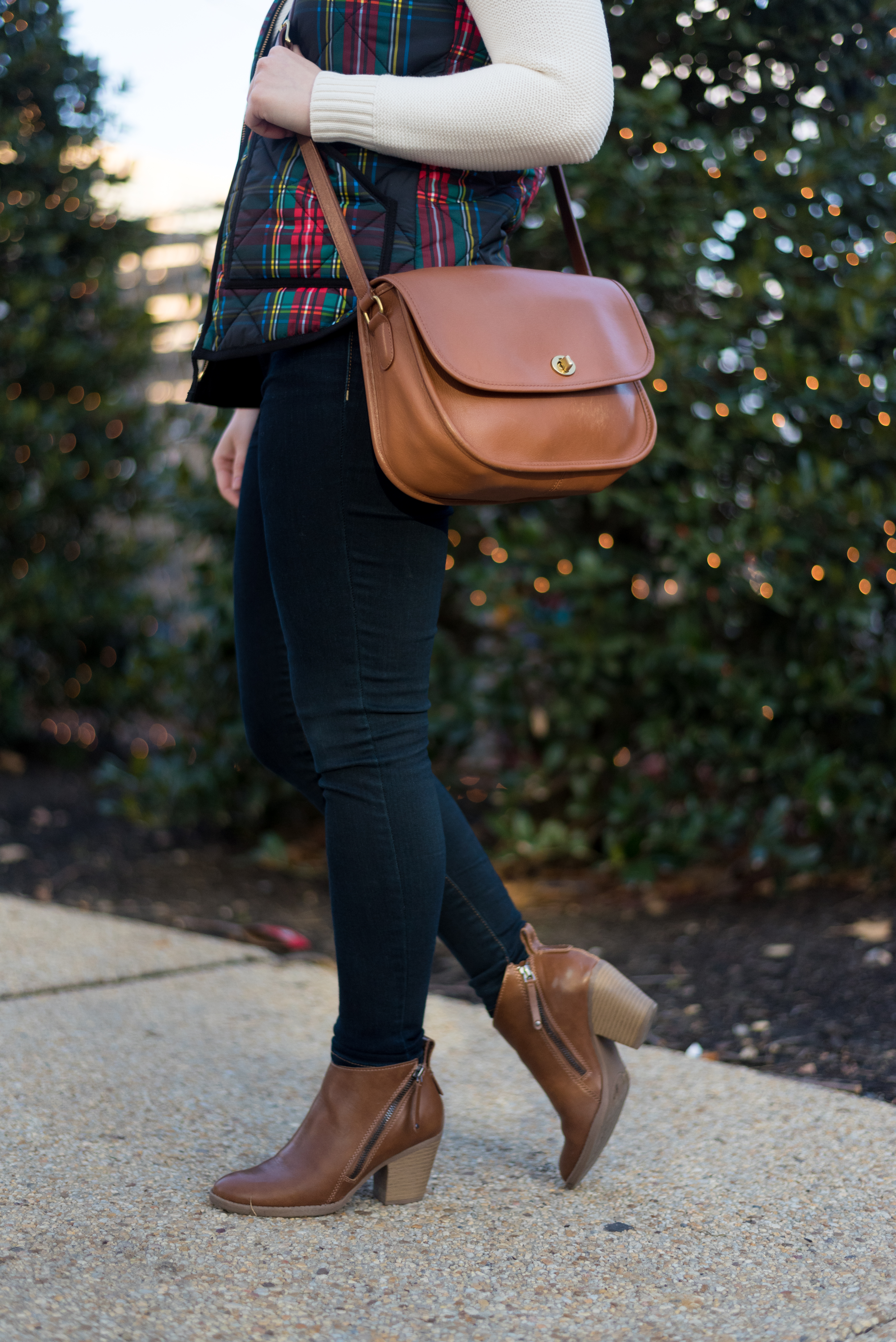 My 2018 Word of the Year, a Reader Survey, AND Giveaway (oh my!) | Something Good, @danaerinw , j.crew plaid vest, plaid vest, aeo jeans, jeggings, dark denim, dark jeans, coach city classic, crossbody bag, cognac purse, target ankle boots, ankle boots, cognac boots, women's clothing, shoes, boots, white sweater