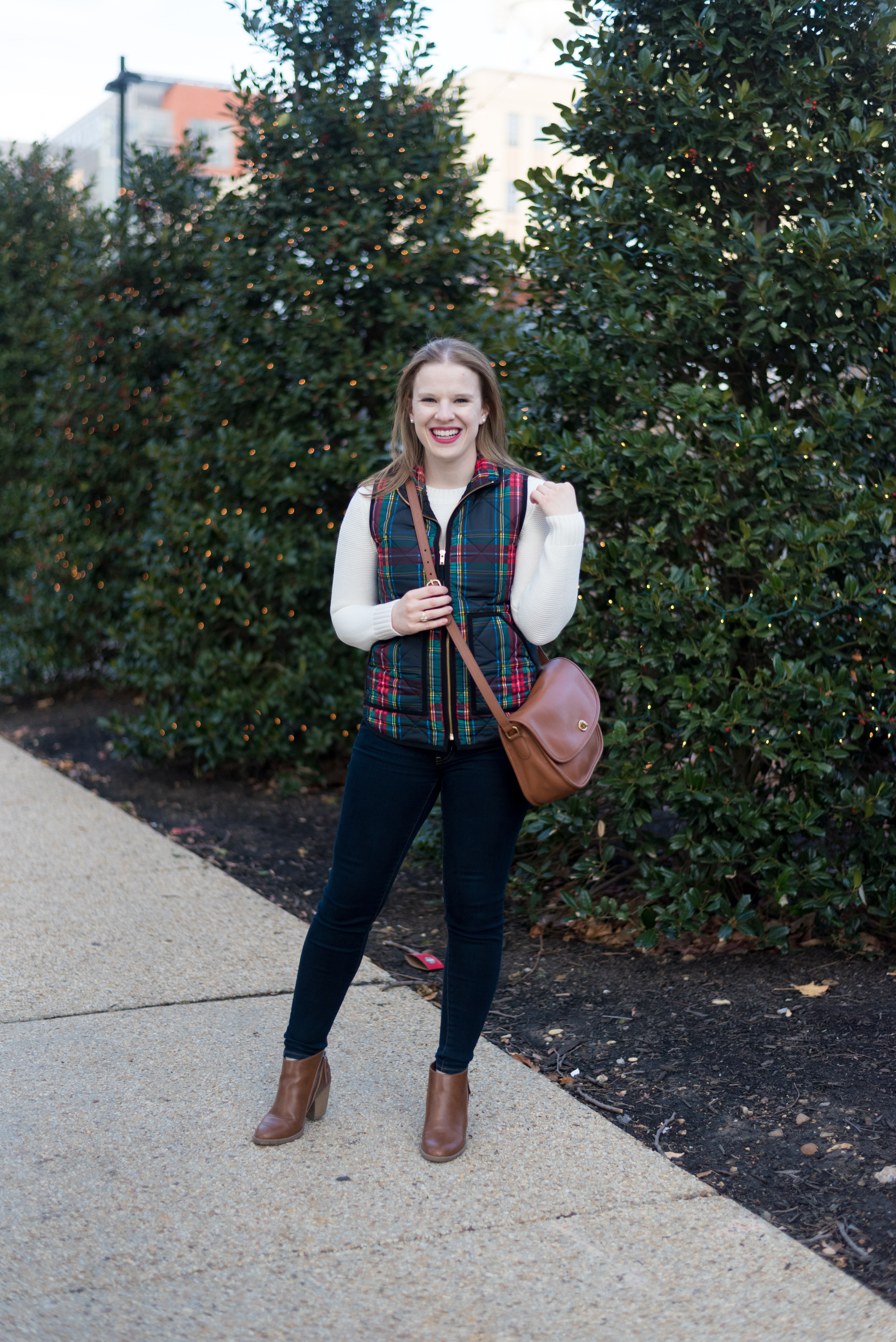 My 2018 Word of the Year, a Reader Survey, AND Giveaway (oh my!) | Something Good, @danaerinw , winter fashion, plaid top, j.crew factory plaid vest, brown booties, women's jeans, dark wash denim, j.crew factory white sweater, cream sweater, women's sweaters, winter fashion, women's shoes