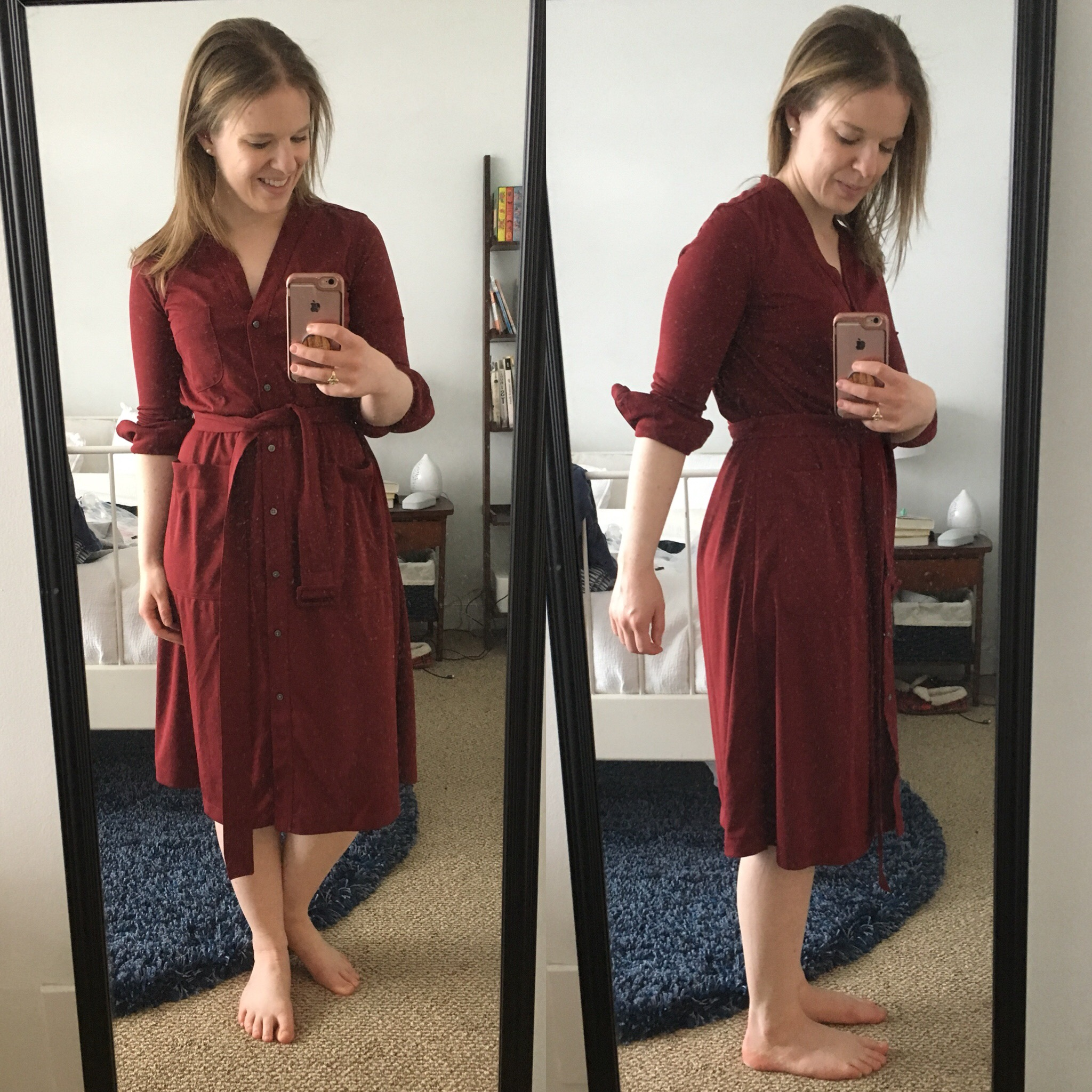7d5aa305 dc woman style blogger taking a picture of J.Crew Collarless Cotton  Shirtdress