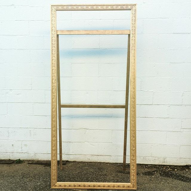 No biggie, just you know, a 7 foot carved #GOLD free-standing frame!  Can't wait to see this decked out with escort cards with @laurynprattes this weekend.  Thank you hubby @zpb101 and @wardmanwares builds!! #vintagerentals #dcwedding #creative #events #eventdesign #mdwedding #yum