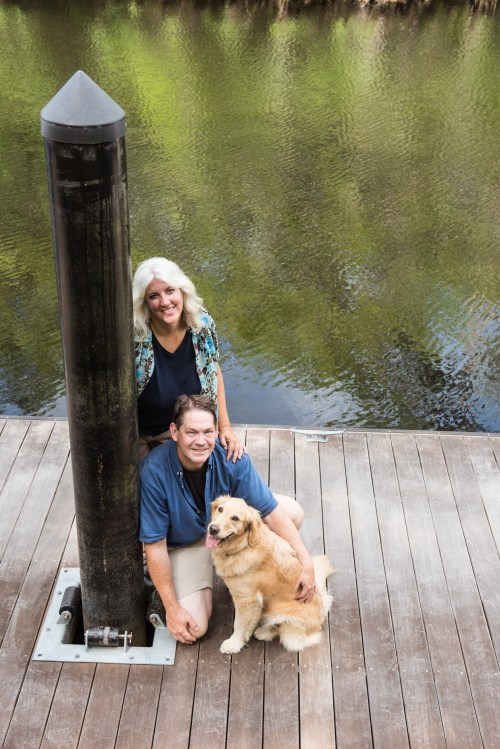 The Something Wagging team on the dock.