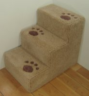 Help your dog onto the bed with these wooden steps.
