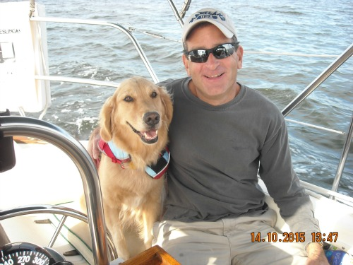 Honey the golden retriever with Uncle Bob on Meander.