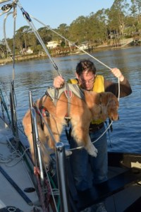 Honey the golden retriever is lowered into the dinghy.