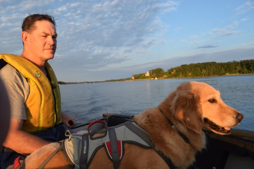 Honey the golden retriever on the dinghy with Mike.