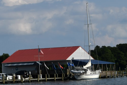 """Lizard"" at the dock at Reedville marina."