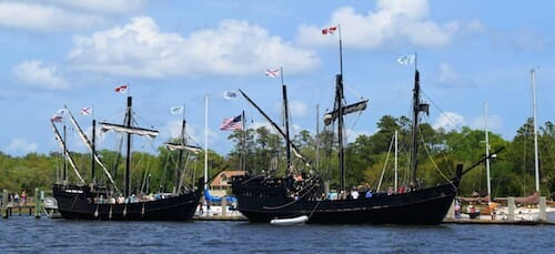 Replicas of the Nina and Pinta at St Mary's, Georgia.