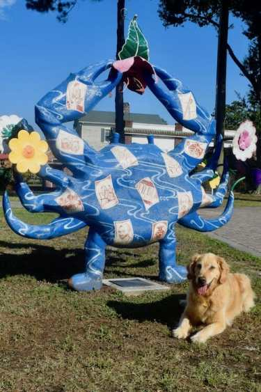 Finding Dog-Friendly Anchorages - like Washington, NC. [golden retriever lying down beside a blue crab sculpture.]