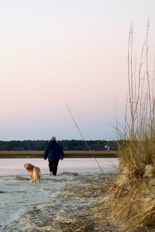 Golden retriever and woman walking on beach.