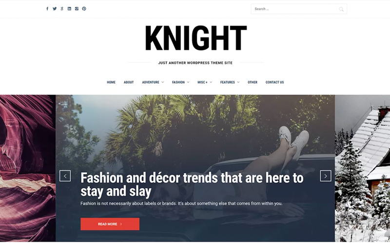 Knight Gutenberg Supported WordPress Theme