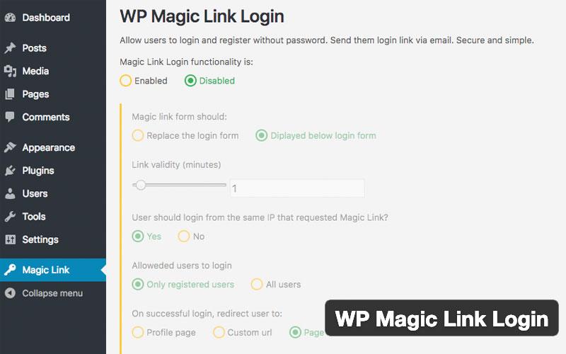 Wp Magic Link Login Passwordless Authentication WordPress Plugin