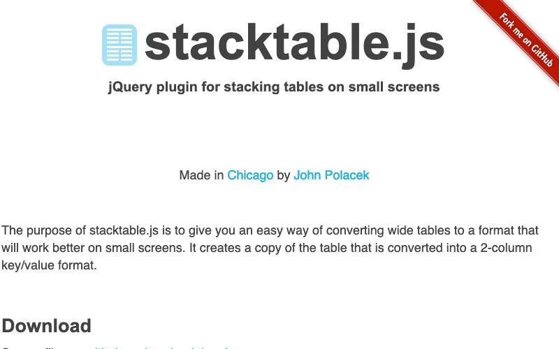 Stacktable.js