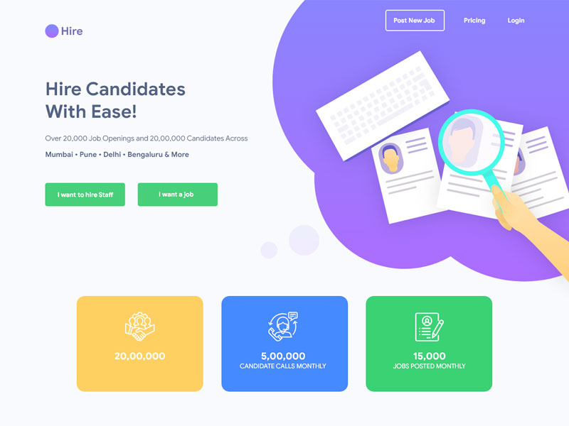 Hire Landing Page Design