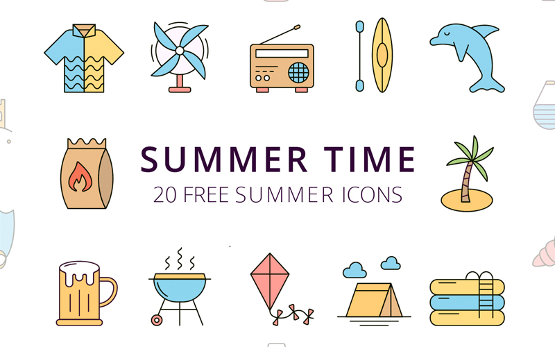 Summer Time Vector Free Icon Set