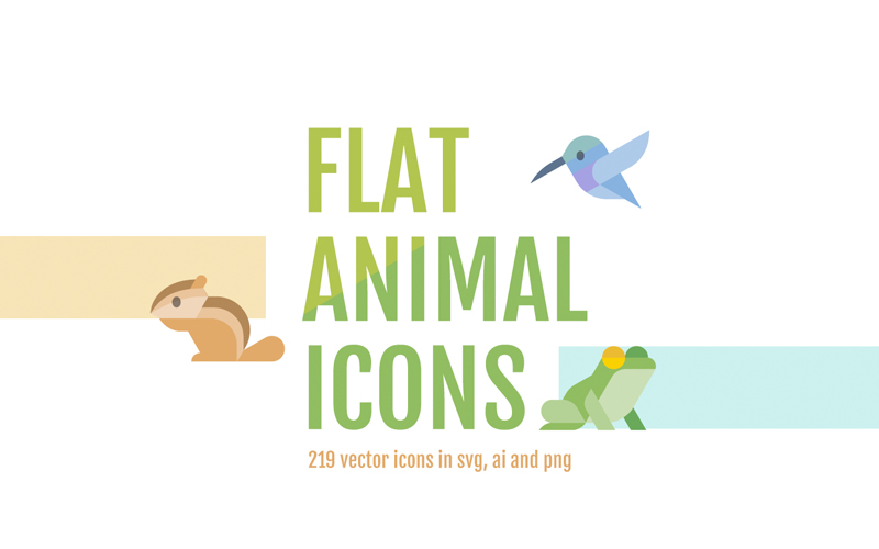 Flat Animals Icon Set