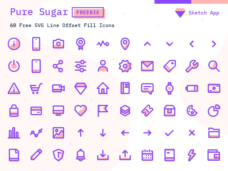Pure Sugar 60 Free Svg Icons Pack Sketch Vector Icon Freebie